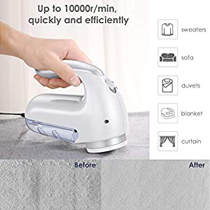 Fabric Shaver Defuzzer, Hosome Lint Balls Pills Fuzz Remover Electric Sweater Clothes Shaver with 3 Replaceable Stainless Steel Blades, Cleaning Brush, AC adapter for Clothing, Couch, Furniture, White