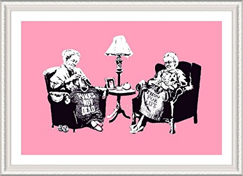 Alonline Art - Old Women Knitting Banksy White Framed Poster Print on 100% Cotton