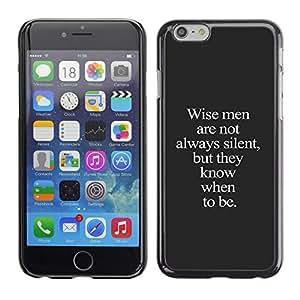 Wise Texto yo Gris Inspiring inteligente Profundo- Metal de aluminio y de plástico duro Caja del teléfono - Negro - iPhone 6