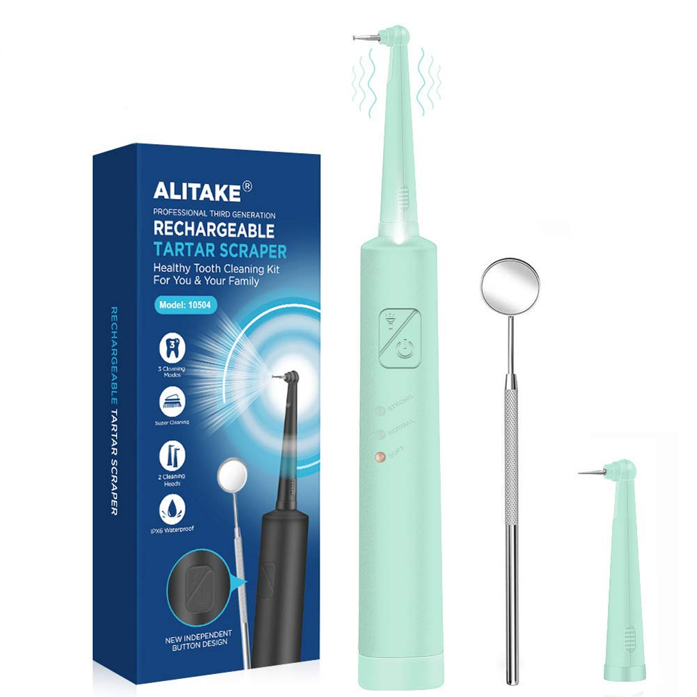 Plaque Remover for Teeth Cleaning Kit, Alitake Ultrasonic Tooth Cleaner Electric Dental Calculus Remover with Oral Mirror, LED Light and Replaceable Cleaning Heads (Blue)