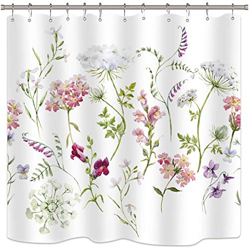 Riyidecor Herbs Floral Plants Shower Curtain Watercolor Wildflowers Delicate Flower Pink Tansy Pansies Retro White Decor Fabric Bathroom Set Polyester Waterproof 72x78 Inch Plastic Hooks 12 Pack