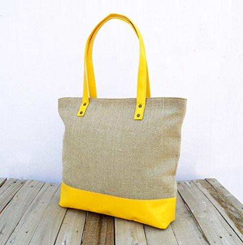 Lino e finta pelle, borsa, naturale con giallo, Classic Everyday bag.