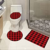 jwchijimwyc Plaid 3 Piece Extended bath mat set Lumberjack Fashion Buffalo Style Checks Pattern Retro Style with Grid Composition Increase Scarlet Black