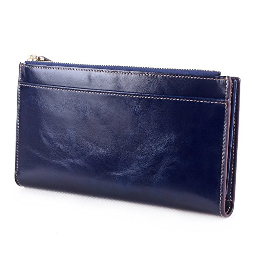 AINIMOER Women's Large Genuine Leather Trifold Wallet Long Card Case Zippered Ladies Clutch Purse(Blue)