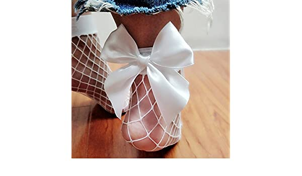 Amazon.com: DHmart Sexy Ladies Ankle High Socks Mesh Fish Net Lace Polyester Bow Black White Low Cut Footsies Boat Socks Bandage Fashion: Kitchen & Dining
