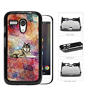 Colorful Geometric Nebula Wallpaper with Wolf in Center Motorola (Moto G) Hard Snap on Plastic Cell Phone Cover
