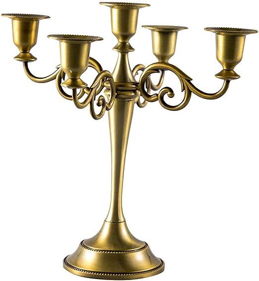 Gold Queta Kerzenleuchter 5-armig Kerzenst/änder Candle Holder Kerzenhalter als Tischdeko f/ür Weihnachten und Erntedankfest