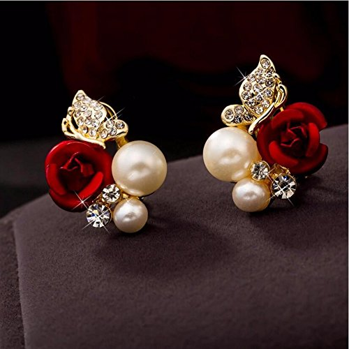 JD Million shop 2017 New Hot ! Fashion Fine Excellent Jewelry Red Rose Butterfly Pearl Gold Color Brincos Stud Earrings Women Ladies Gift E-745
