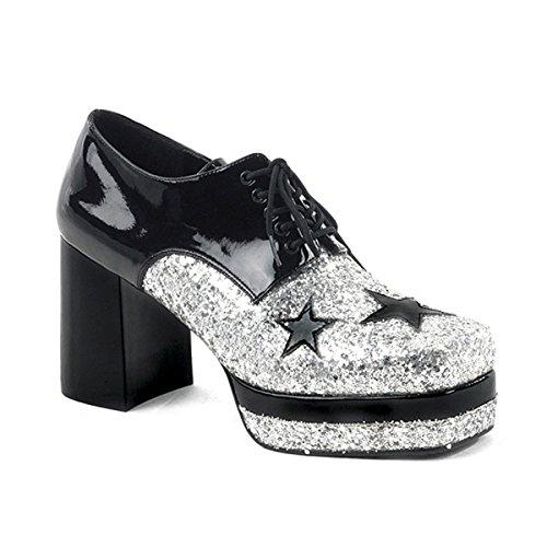 Mens Glitter Shoes 3 1/2 Inch Platform Black Silver Stars Costume MENS SIZING Size: Medium