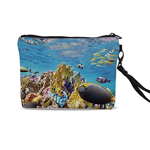 - Ocean Cute Cosmetic Bags,Tropical Exotic Coral Reefs Fish School Jellyfish Underwater Wild Marine Life Theme For traveling,9