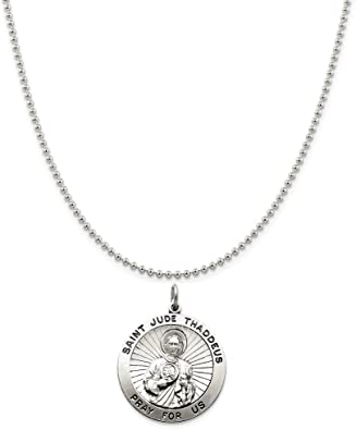Sterling Silver Our Lady Of Guadalupe Medal on a Sterling Silver Cable Snake or Ball Chain Necklace