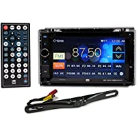 Package: DUAL XDVD210BT 6.2 2-Din In-Dash Car Monitor with DVD, USB, SD, Bluetooth and External Mic + Rockville RBC5B Black Rearview Backup License Plate Bar Camera