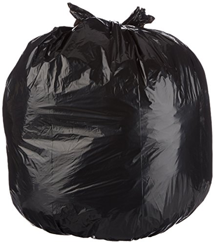 AmazonBasics 44 Gallon Trash Can Liner, Lawn and Leaf, 1.1 mil, Black, 150-Count