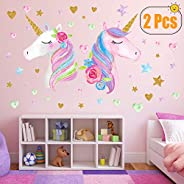 2 Sheets Large Size Unicorn Wall Decor,Removable Unicorn Wall Decals Stickers Decor for Gilrs Kids Bedroom Nursery Birthday