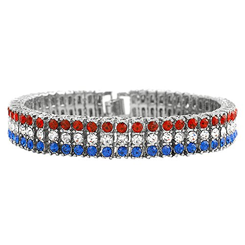 Red White and Blue USA Pride 3 Row Bracelet -