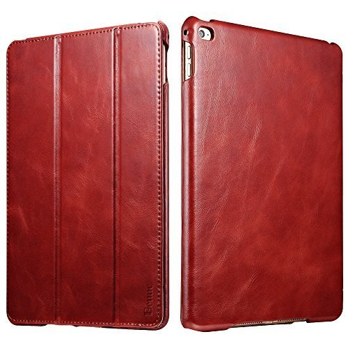 nuo [Vintage Classic Series] [Genuine Leather] Folio Flip Leather Case [Stand Feature] [Magnetic Closure] with Smart Cover Auto Sleep / Wake Function for iPad Mini 4 (Retro Red) ()