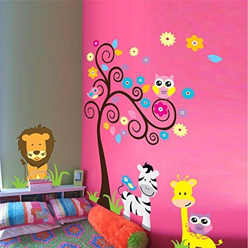 Diy Lion Costume Toddler (High-Season Lion Giraffe Zebra Animal Wall Sticker for Kids Room Decoration 5091 Diy zoo tree adesivo de paredes decals home art mural)