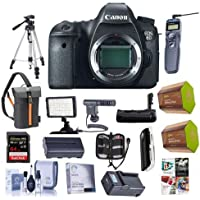 Canon EOS 6D DSLR Camera Body - Bundle with 64GB SDXC Card, 2x Spare Battery, Twin Charger,Screen Protector, Memory Wallet, Tripod, Battery Grip, Video Light, Shotgun Mic, Software Package and More