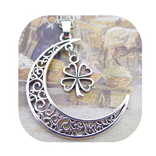 4 Week Copper Leaf (Silver Moon and Four Leaf Clover Necklace, Crescent Moon Necklace, Lucky Necklace)