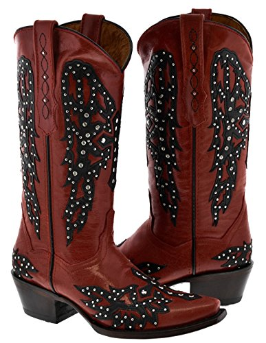 Golden Wings Red Cowboy amp; Red Leather Guns Womens Cross Boots Studded rtvqr7x