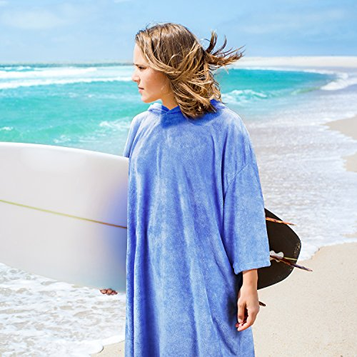 Catalonia Hooded Surf Poncho,Water Absorbent Wetsuit Changing Robe,Adults Sleeved Sand Proof Beach Towel for Watersports Surfing Swimming Bathing ()
