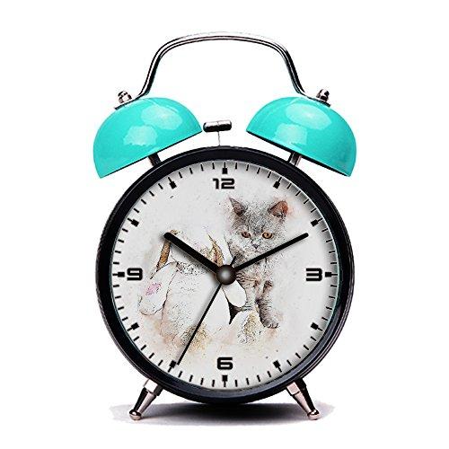 Blue Alarm Clock, Retro Portable Twin Bell Beside Alarm Clocks with Nightlight-108.Cat, Grey, Pet, Bunny, Art, Abstract, Vintage