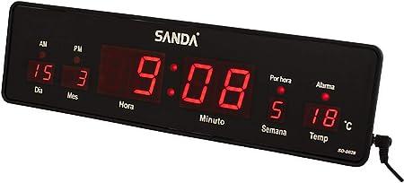 Sanda SD-0028 Reloj Digital de Pared y Mesa Led Color Rojo ...