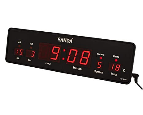 Sanda SD-0028 Reloj Digital de Pared y Mesa Led Color Rojo Calendario Termometro Alarma
