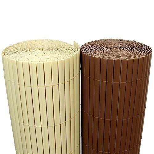 Rapid Teck (5€ m²) PVC Bambus Sichtschutzmatte 120cm x 800cm [Braun] Sichtschutz Windschutz   Gartenzaun Balkon Umspannung Zaun