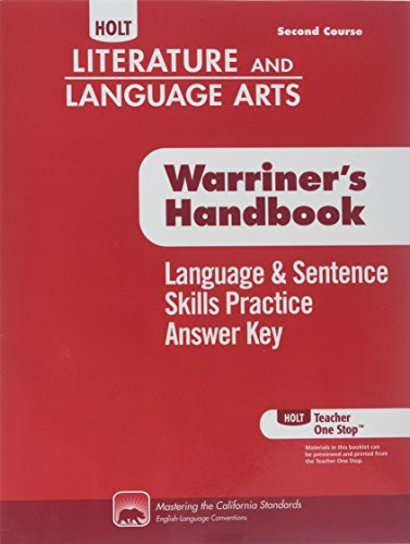 Language/Sent Skl Anky Crs2 Hllawh 2010 (Holt Literature & Language Arts Warriner's Handbook) ()