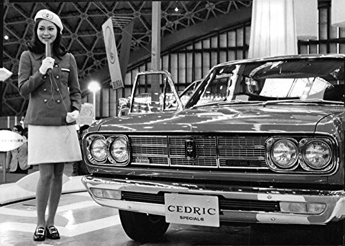 (Vintage photo of Nissan car during the 1968 Tokyo Motor Show.)