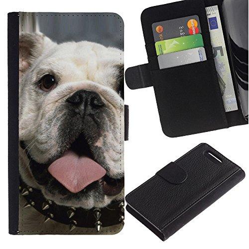 LASTONE PHONE CASE / Lujo Billetera de Cuero Caso del tirón Titular de la tarjeta Flip Carcasa Funda para Sony Xperia Z1 Compact D5503 / Punk English Bulldog London Icon Dog