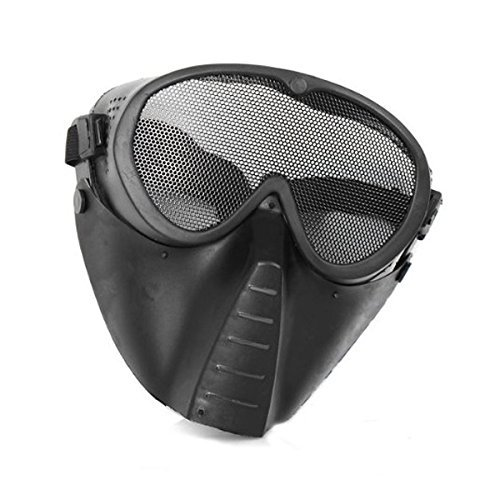 SHARPTECK Adjustable Steel Mesh Airsoft Paintball BB Gun Full Face Eyes Nose Wear Protector Safety Guard (Paintball Gun Mask compare prices)