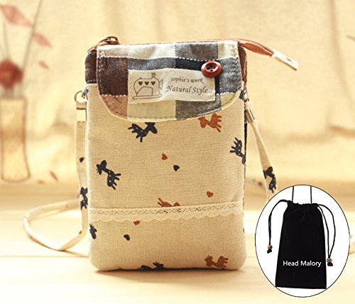 (Coffee) Girls Fresh Crossbody Shoulder Bag Ladies Cellphone Pouch with Lace Pure Cotton Zipper Purse for Carrying iphone 6plus iphone 6/5/5s,Samsung Galaxy Note 4/Note3/Note2,Galaxy S5/S4/S3 and Other Cell Phone