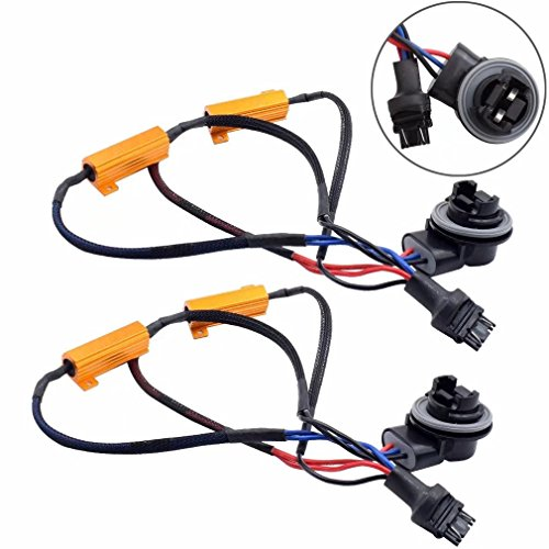(Jahyshow 3157 3057 4157NA 50W 6Ohm Error Free LED Lights Load Resistor Adapter Fix Flashing Fast Blinking Canbus Bypass Wiring Harness for Upgrading LED Turn Signal Blinker Light Lamps)