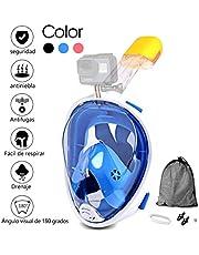 Jasonwell Máscara de Buceo 180 Grados de Vision Máscara de Snorkel de Cara Completa respirando Libre Anti vaho y Anti Fugas con Montaje de cámara para Adultos y Niños
