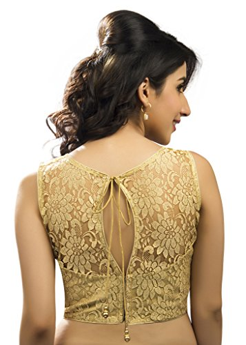 Bollywood-Blouses-Womens-Designer-Fine-Zari-Floral-Pattern-Net-Saree-Blouse-Gold-Large