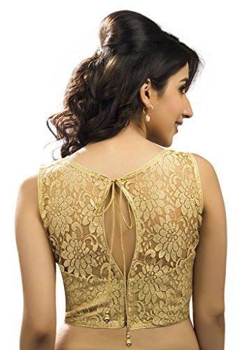 Bollywood-Blouses-Womens-Designer-Fine-Zari-Floral-Pattern-Net-Saree-Blouse-Gold-Large