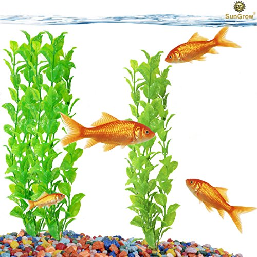 Beautiful Plastic Aquarium Plant Set by SunGrow: Vibrant bright Green: Life-like & Attractive for your tank: Non- toxic & Safe for all Fish & pets : Easy to clean : - Swim Store Near Me