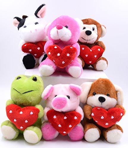 Set of 6 Plush Animals Holding Hearts: Cow, Bear, Monkey, Frog, Pig, Dog