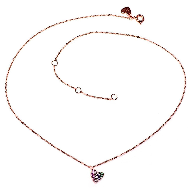 Colgante plata Agatha Ruiz de la Prada 39cm. rosado corazón [AB5675]
