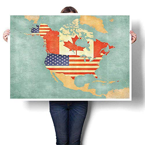 all Art for Bedroom Home Decorations States and Canada Outline Map of The North America in Grunge Stylized Soft Colors for Home Decoration No Frame,48