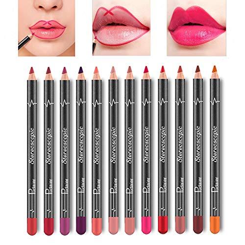 (Lip Liner Pencil Set - 12 Colors Waterproof Smudge Proof Matte Velvet Long Lasting Lip Liners Makeup Lipsticks)