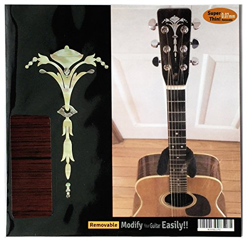 Inlay Sticker Decal Guitar Headstock In MOP Theme - Old Torch WT (Guitar Decal Headstock)