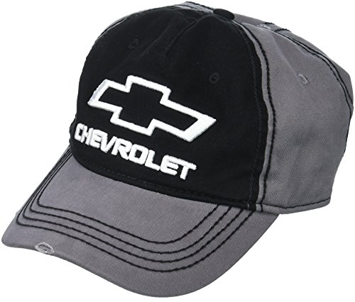 Chevy Men's Chevrolet Washed Twill Baseball Cap, 3D Embroidery, Black/Grey, one Size