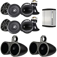 4x Kicker 41KMS674C 6.5 Marine Component Speaker System, and 4x Kicker 12KMTED 6.5 Dual Weather-Proof Speakers Tower Empty Enclosures, w/ Kicker 40KXM400.2 2-Channel Boat Stereo Silver Amplifier