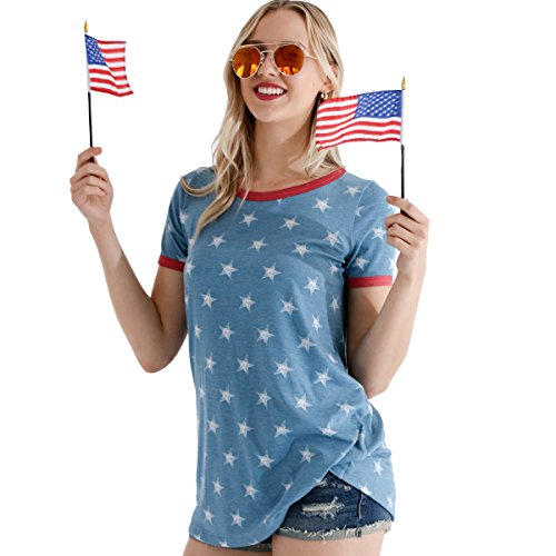 Preppy Doll Made in USA Women's Stars and Stripes Solid Casual Soft Short Sleeve Top Shirt for Fourth of July American Flag (Large, Blue Multi)