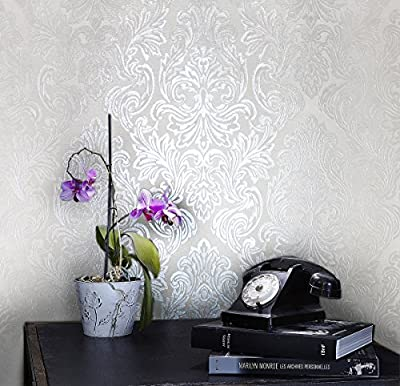 QUADRUPLE ROLL 113.52sq.ft (4 single rolls size) Slavyanski wallcovering washable victorian pattern Vinyl Non-Woven Wallpaper silver ivory white gray textured stripe wall glitters metallic 3D damask