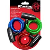 Master Lock 8127TRI Bike Lock/Cable, Blue, Green and Red, 3-Pack