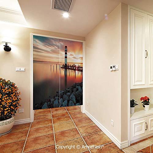 PUTIEN Japanese Noren Doorway Curtain/Tapestry Crane Noren Door Curtain Panel Room Divider,Lighthouse-Decor Landscape Ocean Sunset Evening View of The Day Over The Sea
